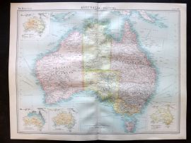 Bartholomew 1922 Large Map. Australia, Political.
